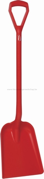 Schop D-greep - 1040 mm plat blad - 270 x 330 x 50 mm rood